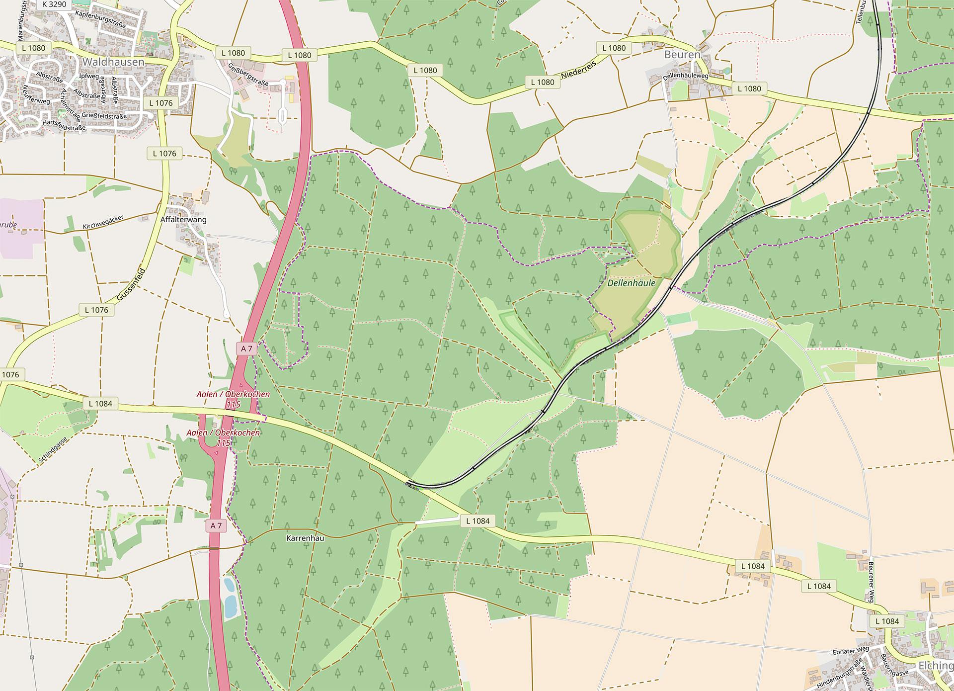 Bildquelle: Map data © OpenStreetMap contributors, Trassenverlauf aus Machbarkeitsstudie B 29 Röttinger Höhe – Nördlingen Kurzfassung